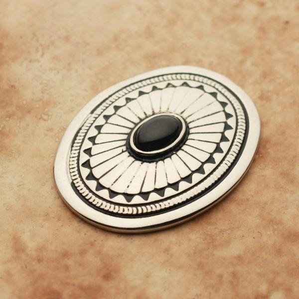 メンズ レザーブランドSALE サーマル コンチョ ブラック 亜鉛合金