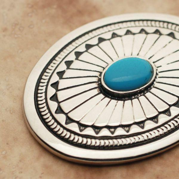 メンズ レザーブランドSALE サーマル コンチョ ターコイズブルー 亜鉛合金