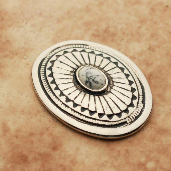メンズ レザーブランドSALE サーマル コンチョ ターコイズホワイト 亜鉛合金