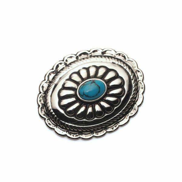 メンズ レザーブランドSALE サーマル菊型 コンチョ ターコイズブルー 亜鉛合金