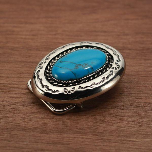 メンズ レザーブランドSALE ラウンド バックル ターコイズブルー 亜鉛合金