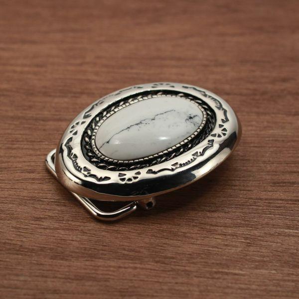 メンズ レザーブランドSALE ラウンド バックル ターコイズホワイト 亜鉛合金
