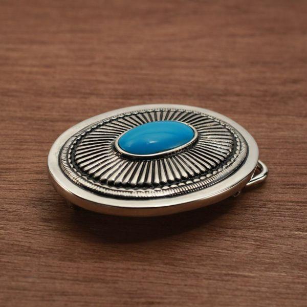 メンズ レザーブランドSALE サーマル バックル ターコイズブルー 亜鉛合金