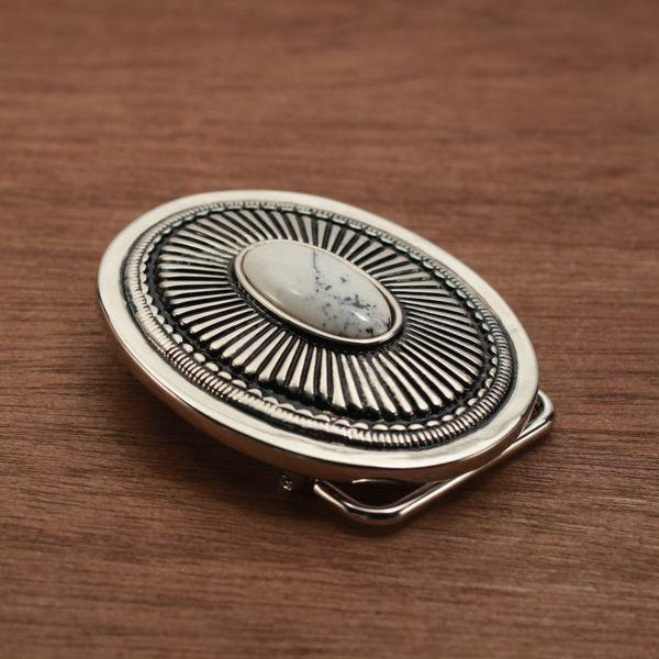 メンズ レザーブランドSALE サーマル バックル ターコイズホワイト 亜鉛合金