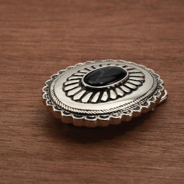 メンズ レザーブランドSALE サーマル菊型 バックル ブラック 亜鉛合金