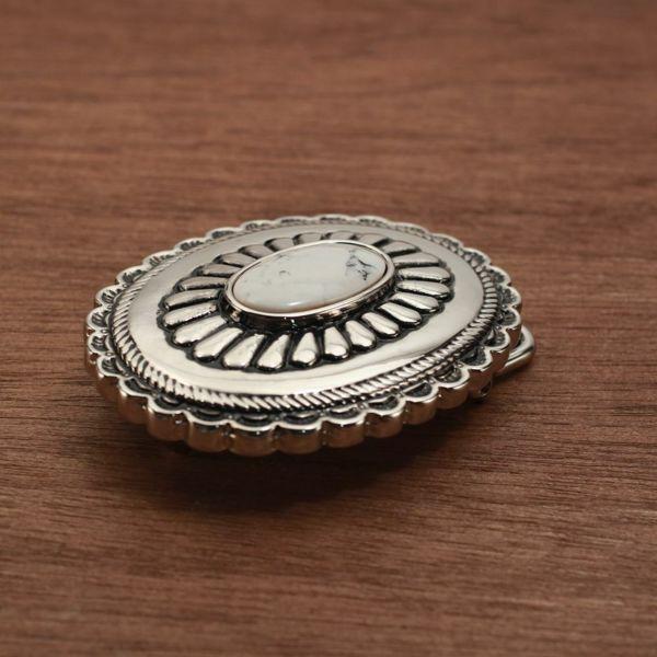 メンズ レザーブランドSALE サーマル菊型 バックル ターコイズホワイト 亜鉛合金