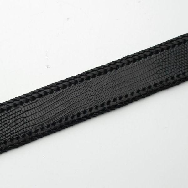 メンズ レザーブランドSALE 縁編みベルト リザード ブラック(トカゲ革)