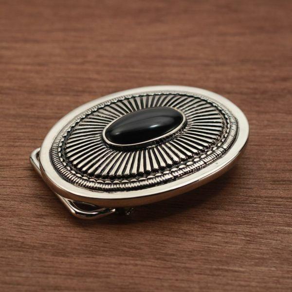 メンズ レザーブランドSALE サーマル バックル ブラック 亜鉛合金