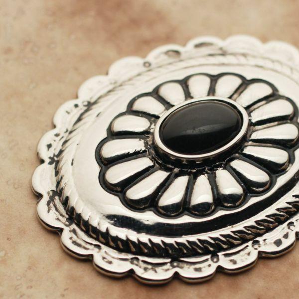 メンズ レザーブランドSALE サーマル菊型 コンチョ ブラック 亜鉛合金