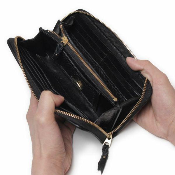 レザーブランドSIXTHSENSE ロングウォレット ブラック クロコダイル(ワニ革)黒い 革財布