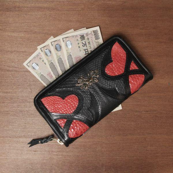レザーブランドSIXTHSENSE ロングウォレット レッド クロコダイル(ワニ革)赤い 革財布