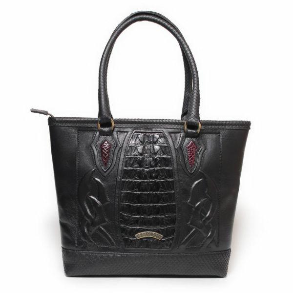レザーブランドSIXTHSENSE トートバッグ ブラック クロコダイル(ワニ革)黒い メンズ 革カバン