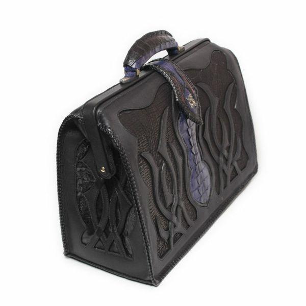 レザーブランドSIXTHSENSE ダレスバッグ ブラック クロコダイル(ワニ革)黒い メンズ 革カバン