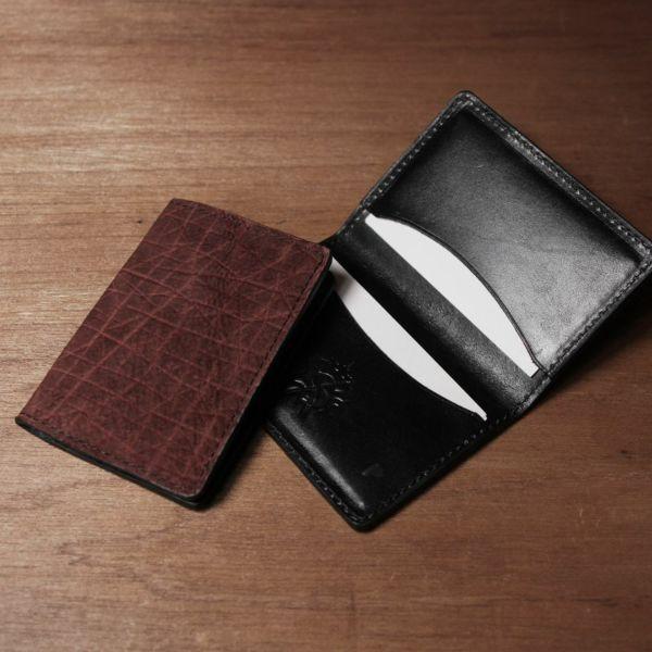 レザーブランドS'FACTORY ポケットカードケース ヒポ ボルドー(カバ革) 革小物 名刺入れ パスケース 本革