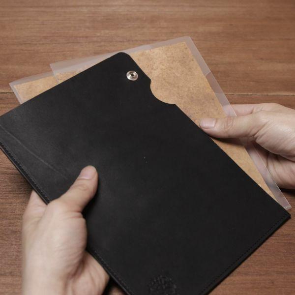 レザーブランドS'FACTORY A5 レザーファイル カウレザー ブラック(牛革)本革 クリアファイル ケース