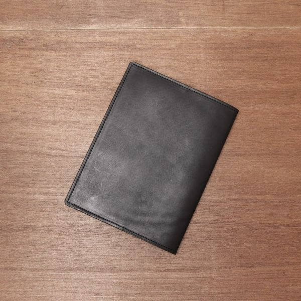 レザーブランドS'FACTORY レザーブックカバー 文庫本サイズ カウレザー ブラック(牛革) 本革