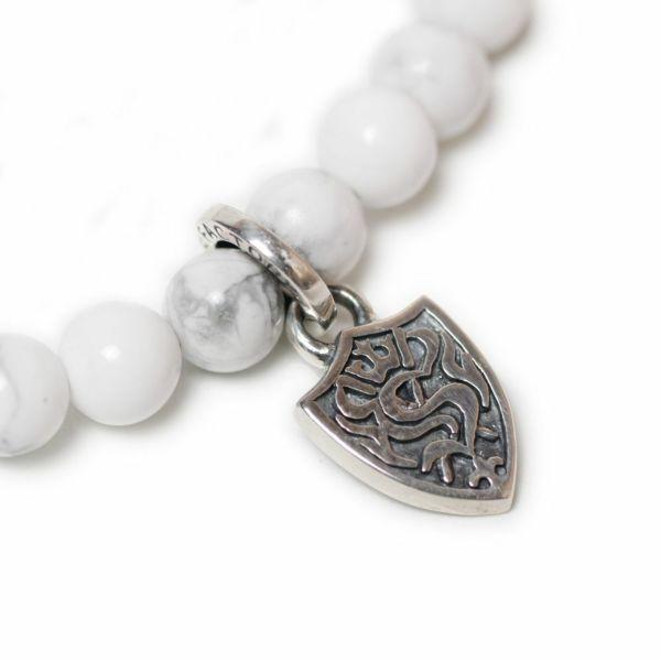 メンズ ストーンブレスレット ホワイトターコイズ マグネサイト アクセサリー silver925