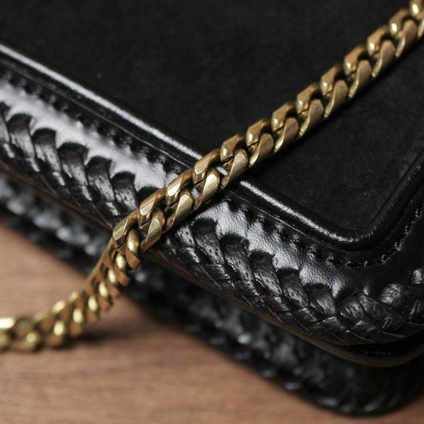 ショート ウォレット チェーン 真鍮 ブラス ゴールド 細い 短い メンズ 鎖