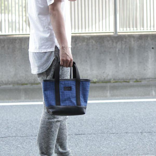 帆布 ミニ トート バッグ 青 ブルー レザー コンビ 革 メンズ レディース 男女兼用