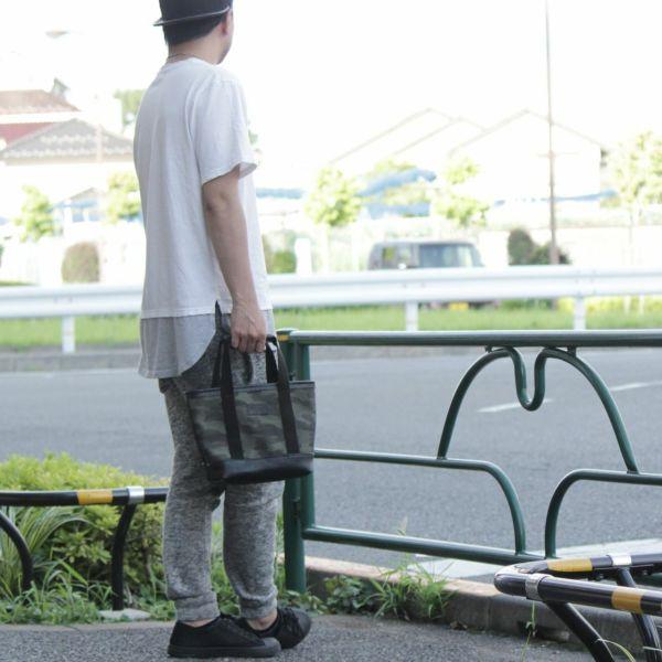 帆布 ミニ トート カモフラ カーキ レザー コンビ 革 メンズ レディース 男女兼用