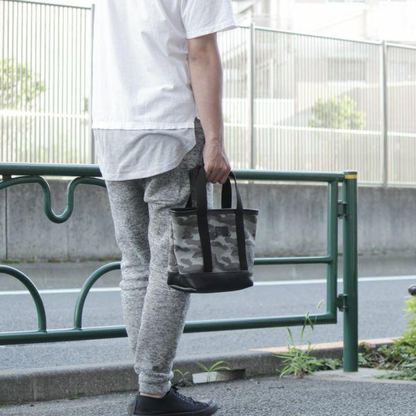 帆布 ミニ トート カモフラ グレー レザー コンビ 革 メンズ レディース 男女兼用