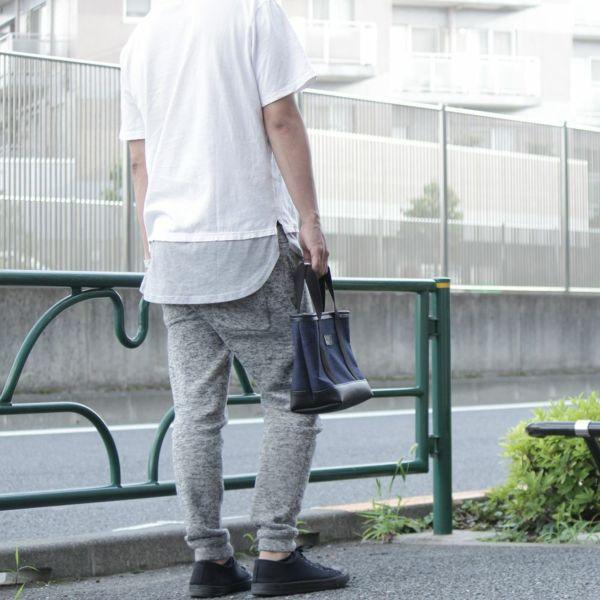 デニム生地 ネイビー ミニ トート レザー コンビ 革 メンズ レディース 男女兼用