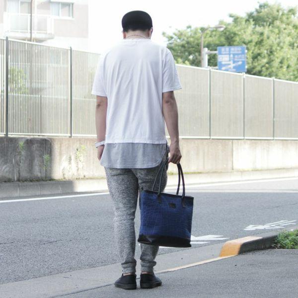 帆布 トート バッグ ブルー 青 レザー コンビ 革 メンズ レディース 男女兼用