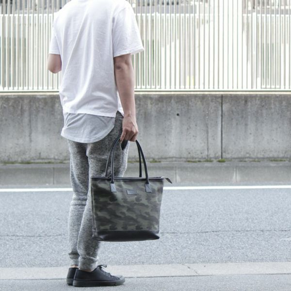 帆布 トート カモフラ カーキ レザー コンビ 革 メンズ レディース 男女兼用