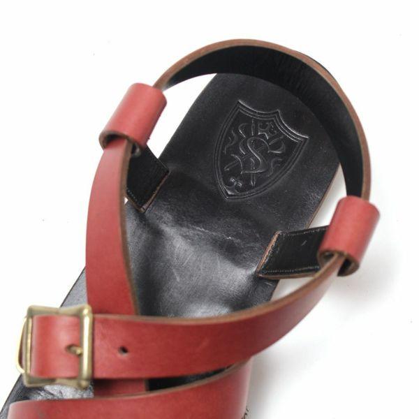 SALE レザー サンダル 本革 レッド シンプル 赤