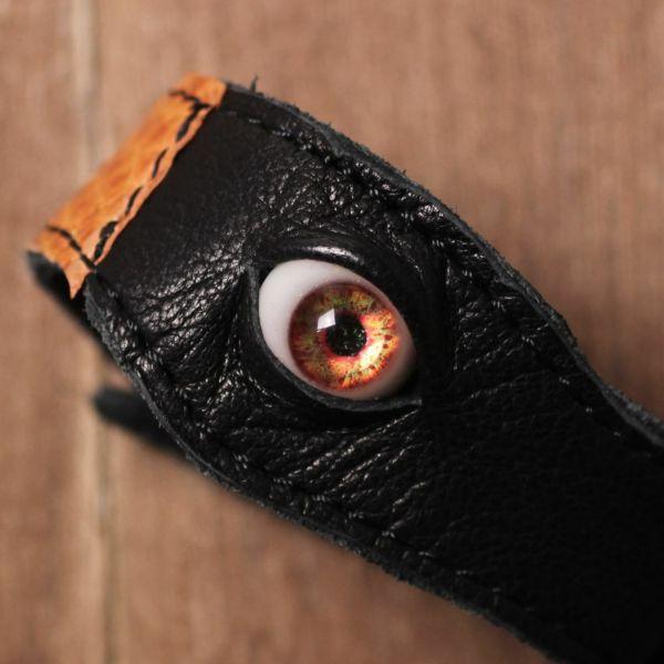 義眼,ヘビ,ブレスレット,レザー,革,ゴシック,アクセサリー,黒,ブラック,オレンジ,GOREGRO,ハロウィン