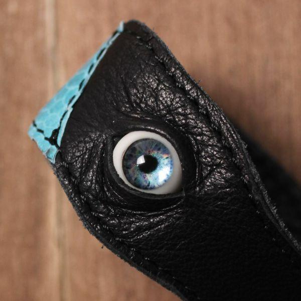 義眼,ヘビ,ブレスレット,レザー,革,ゴシック,アクセサリー,黒,ブラック,ブルー,GOREGRO,ハロウィン
