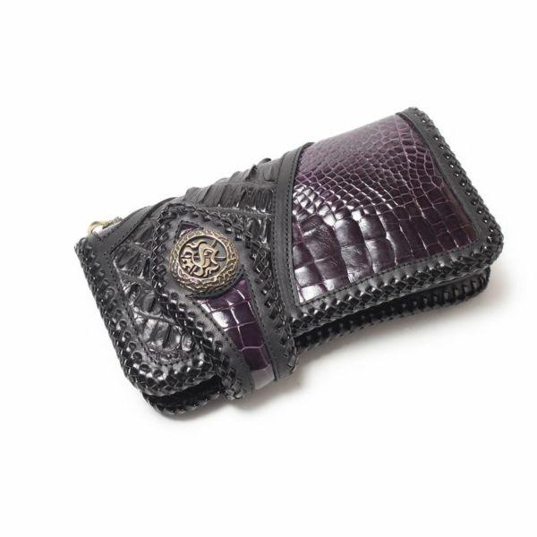 ワニ革,クロコダイル,バイカーズウォレット,財布,レザー,革,限定,紫,パープル