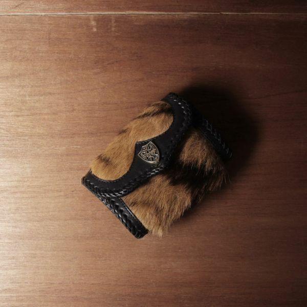虎革,トラ毛皮,小さい,財布,メンズ,ウォレット,レザー,革,黒,ブラック