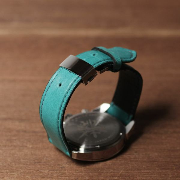 腕時計,ベルト,メンズ,馬革,ポニーレザー,クロノグラフ,ターコイズ,ブルー