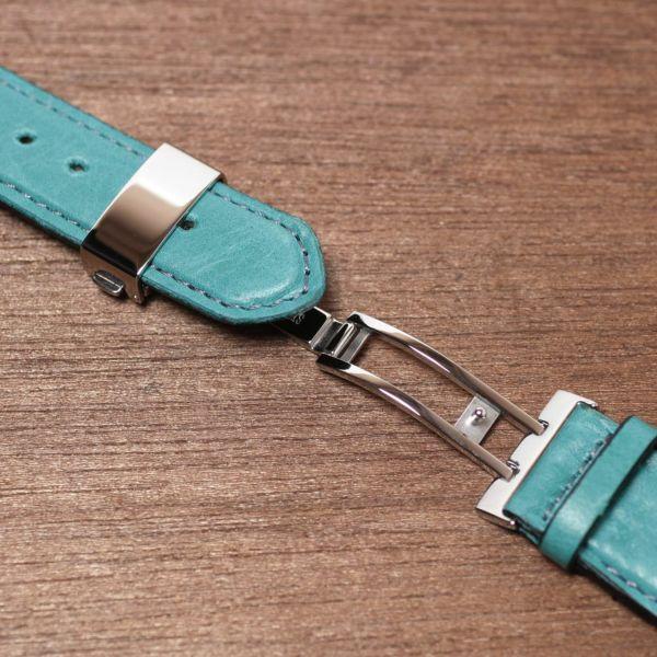 腕時計,ベルト,メンズ,馬革,ポニーレザー,交換用,ターコイズ,ブルー