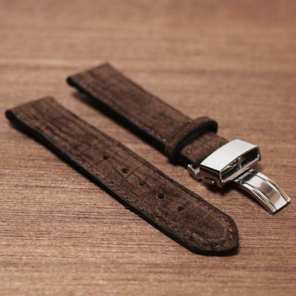 腕時計,ベルト,メンズ,カバ革,ヒポ,交換用,ブラック,ブラウン,グリーン