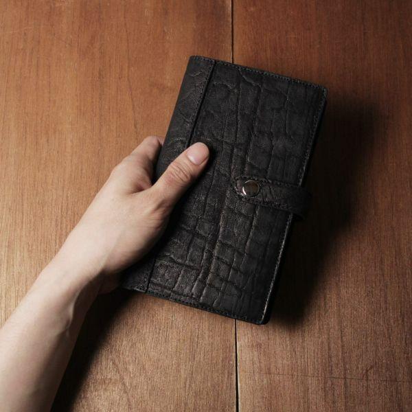 レザーブランドS'FACTORY「システム手帳 バイブルサイズ ブラックエレファント(ゾウ革)」商品画像