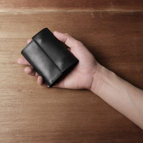 レザーブランドS'FACTORY「三つ折りミニウォレット 栃木レザー ブラック」商品画像