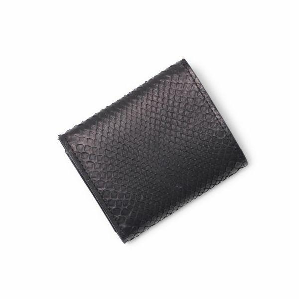 レザーブランドS'FACTORY「三つ折りミニウォレット ブラックパイソン(ヘビ革)」商品画像