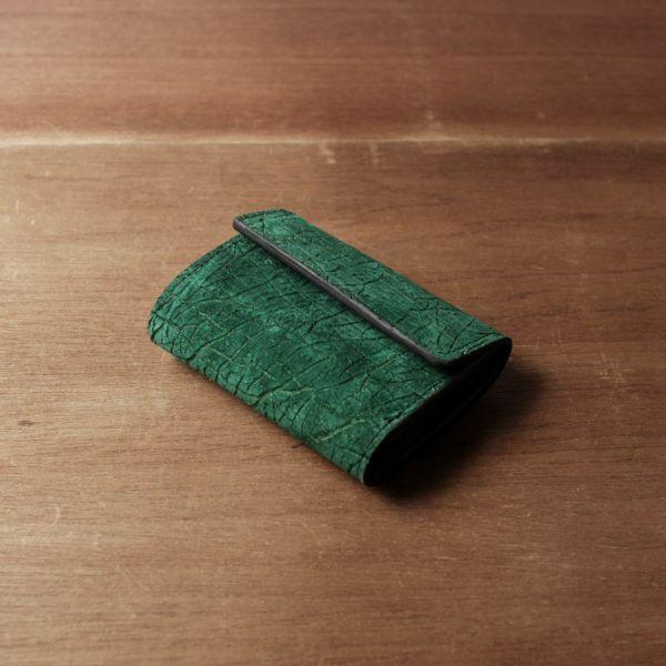 レザーブランドS'FACTORY「三つ折りミニウォレット ヒポ グリーン(カバ革)」商品画像