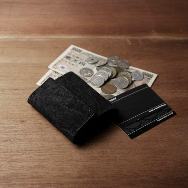 レザーブランドS'FACTORY「三つ折りミニウォレット ブラックエレファント(ゾウ革)」商品画像