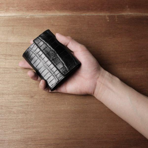 レザーブランドS'FACTORY「三つ折りミニウォレット クロコダイル(ワニ革)」商品画像