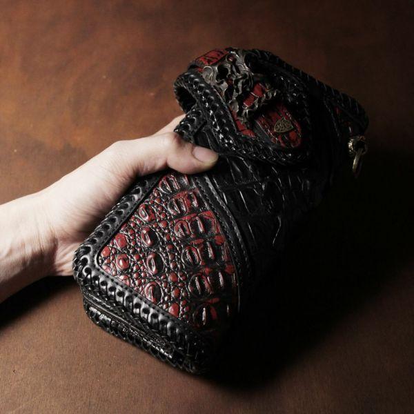 バイカーズウォレット クロコダイル ブラック&レッド(ワニ革)