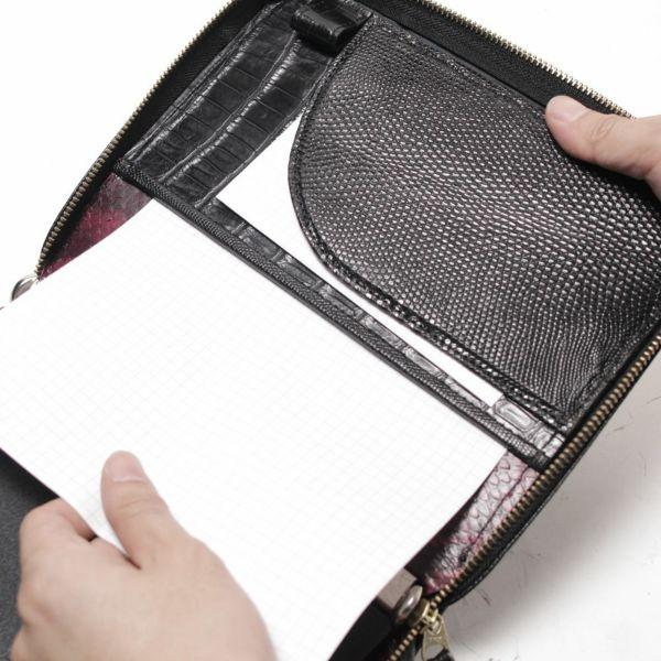 ラウンドファスナー システム手帳 クロコダイル(ワニ革)