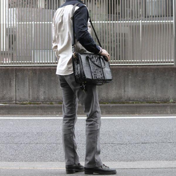 クロコダイル縁編みブリーフケース(ワニ革)