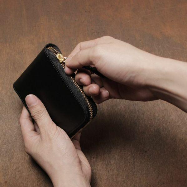 レザーブランドS'FACTORY「スリムファスナー ショート ウォレット 栃木レザー ブラック(牛革)」商品画像
