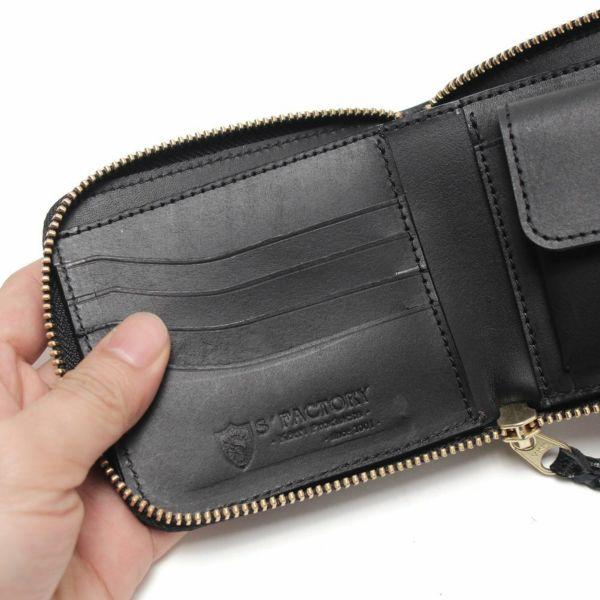 レザーブランドS'FACTORY「スリムファスナー ショート ウォレット シャーク ブラック(サメ革)」商品画像