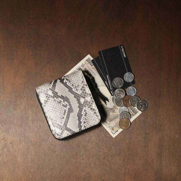 レザーブランドS'FACTORY「スリムファスナー ショート ウォレット パイソン(ヘビ革)」商品画像