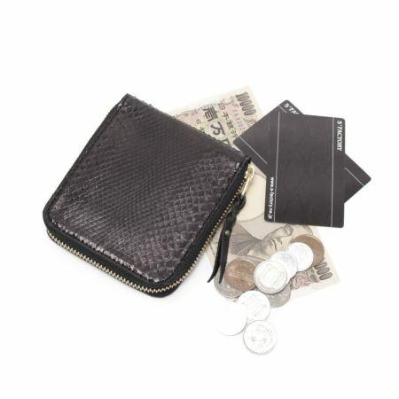 S'FACTORY(エスファクトリー)「スリムファスナー ショート ウォレット ブラックパイソン(ヘビ革)」商品画像