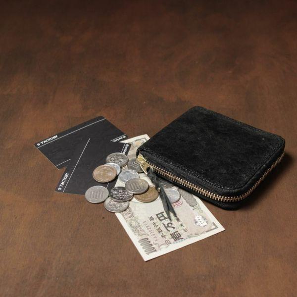 レザーブランドS'FACTORY「スリムファスナー ショート ウォレット エレファント ブラック(ゾウ革)」商品画像